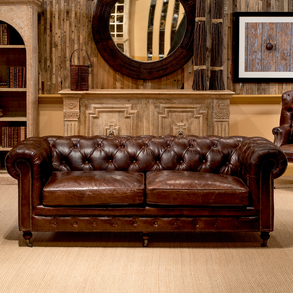 Chesterfield leather sofa ... Chesterfield sofa with castors _5 ZWBZJQO