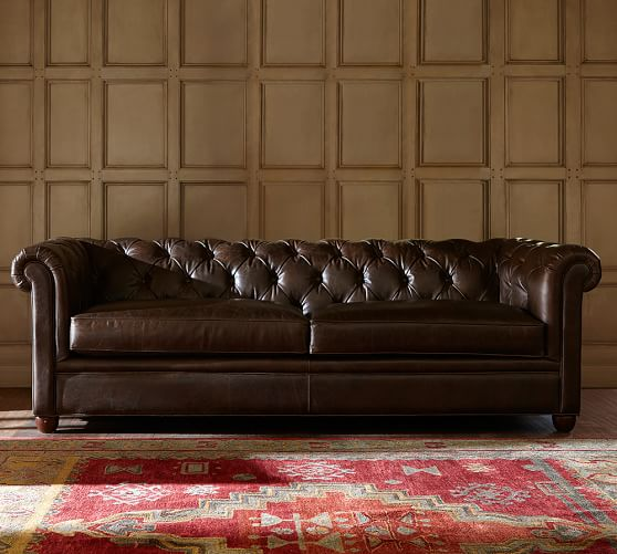 new Chesterfield leather sofa