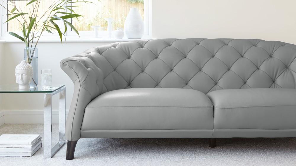 Chesterfield leather sofa cloud gray Quality leather sofa QOMZIQK