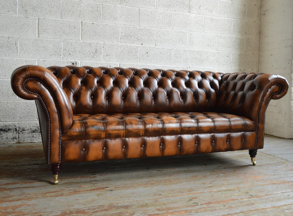 Chesterfield leather sofa handmade traditional golden antique Belmont Chesterfield sofa TJQWTDQ