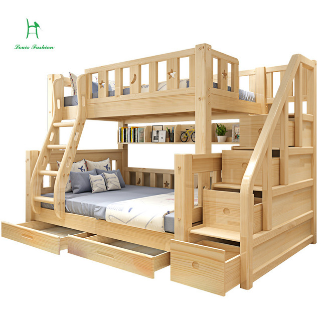 cot louis fashion children bunk bed real pine wood with ladder stair drawers VTEHYEH