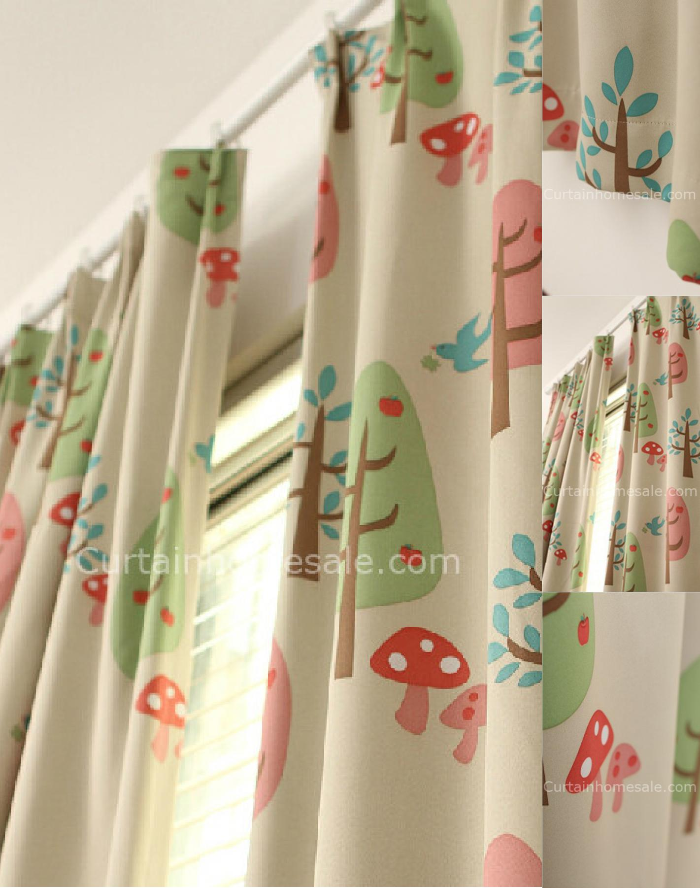Children's curtain cutest blackout Children's trees and mushrooms printed pleated curtains JGCABXF