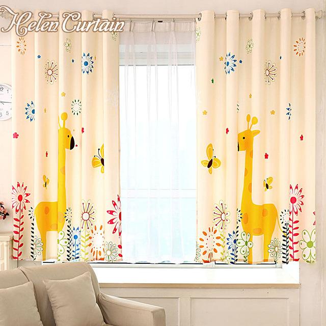 Children's curtain Helen curtain cartoon giraffe children window curtains yellow baby modern children PJPXNDZ
