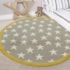 kids rugs gray & ocher multi stars kids room bedroom rug - milan -c120 KXIEKAA