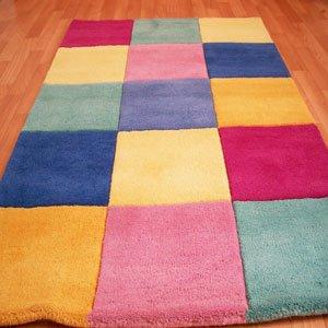 Children's carpets wool hand-tufted 3ft x 3ft children's carpets block design TALNUZJ