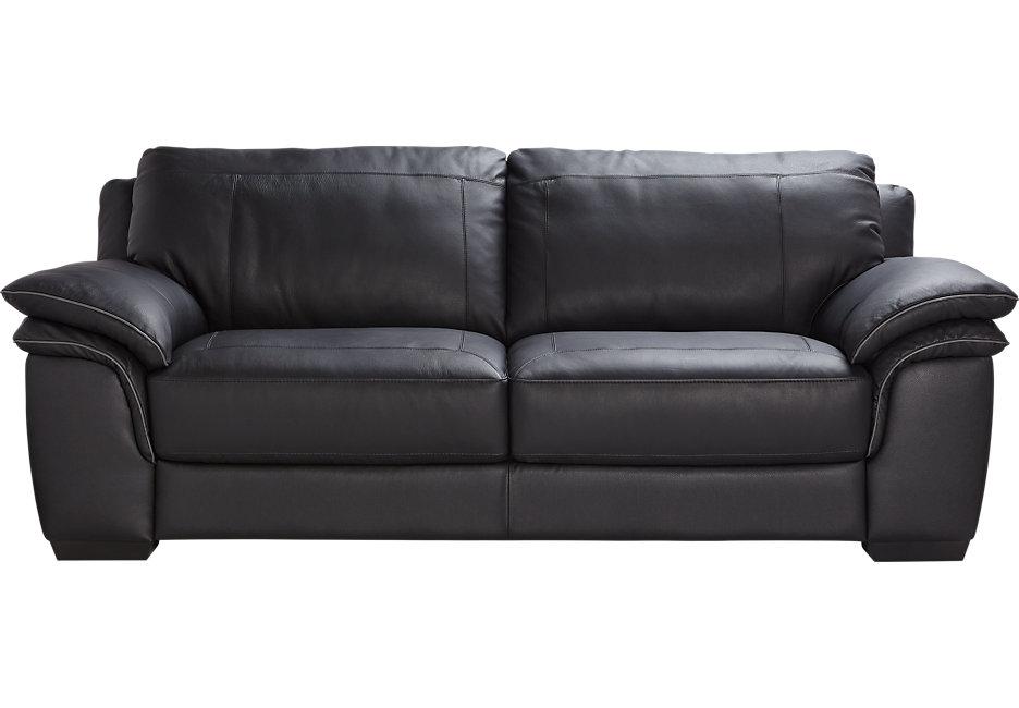 cindy crawford home grand palazzo black leather sofa - leather sofas (black) RPJPHZC
