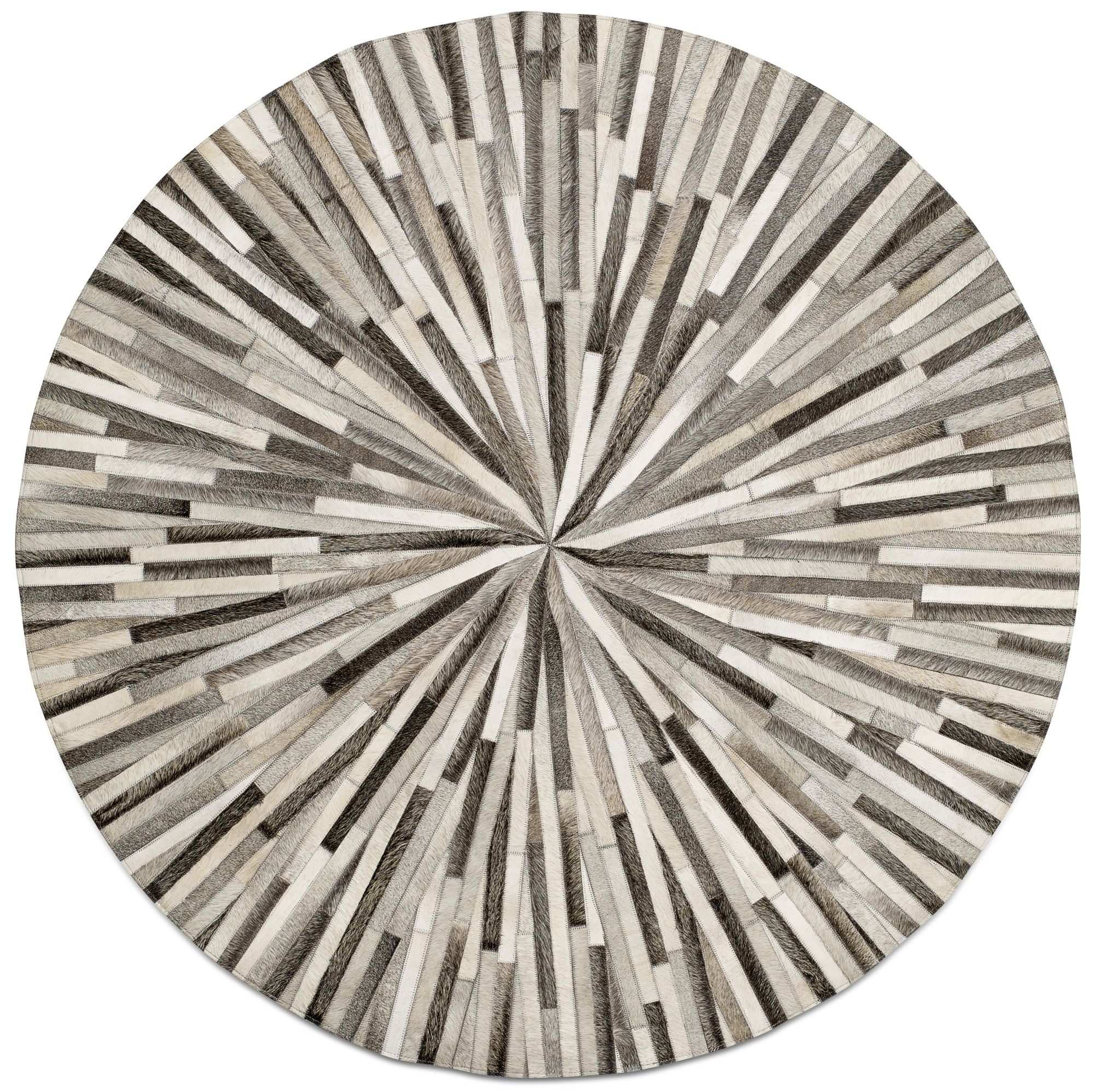 Round carpets gray cowhide leather 150cm diameter modern round carpets - quality from boconcept KWLEZAU