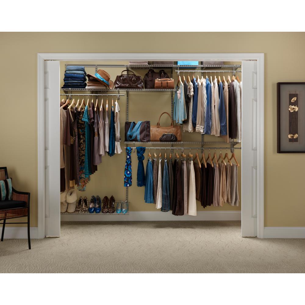 Closetmaid Shelf Rail 5 ft. To 8 ft. Nickel Cabinet Organizer Kit BGUJGAX