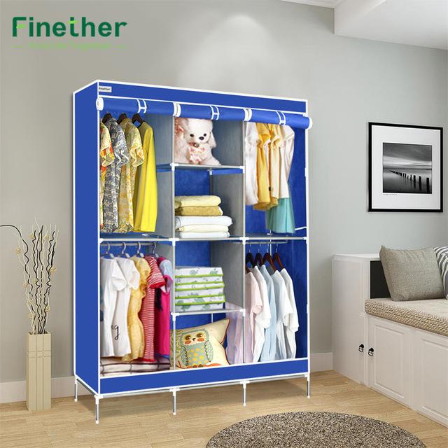 Clothes storage fine double modular fabric cabinet with metal frame wardrobe portable wardrobe TNQDOHM
