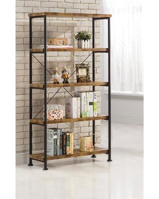 Coaster 801542 Barritt antique wood metal bookcase OUPFDVR