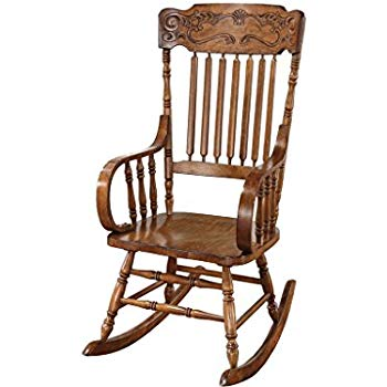 Traditional rocking chair in wood with decorative headrest and oak finish EVQBCXP