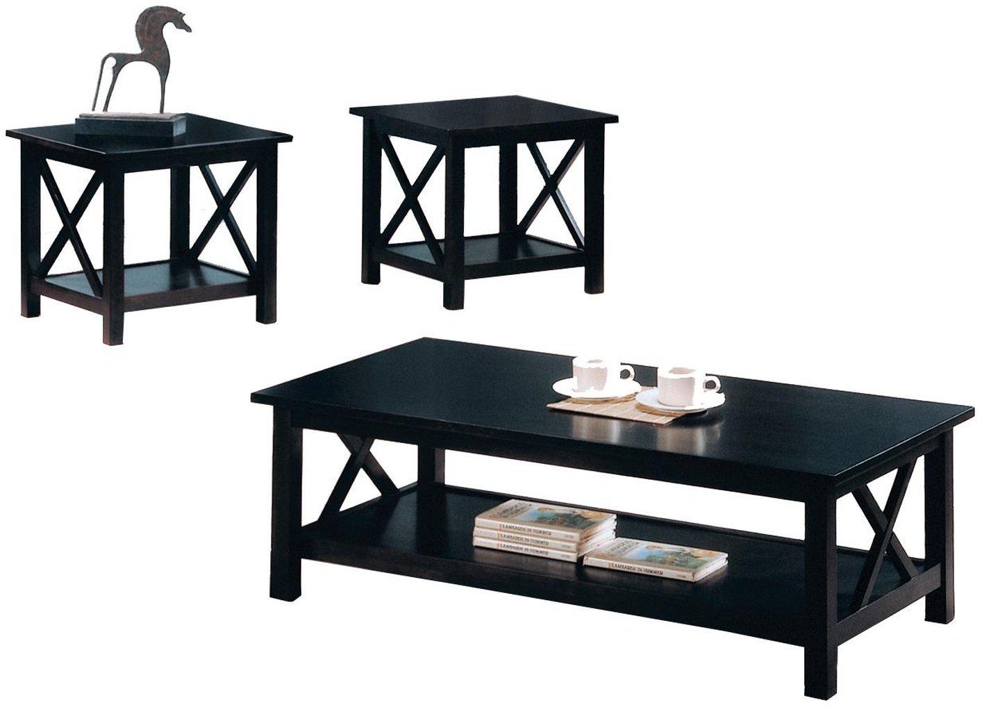 Coffee table sets Black wood coffee table set PXKPMVY