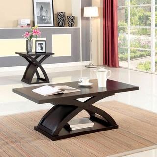Coffee table sets Furniture of America Barkley modern 2-piece espresso X-Base accent table set RFKMKPY