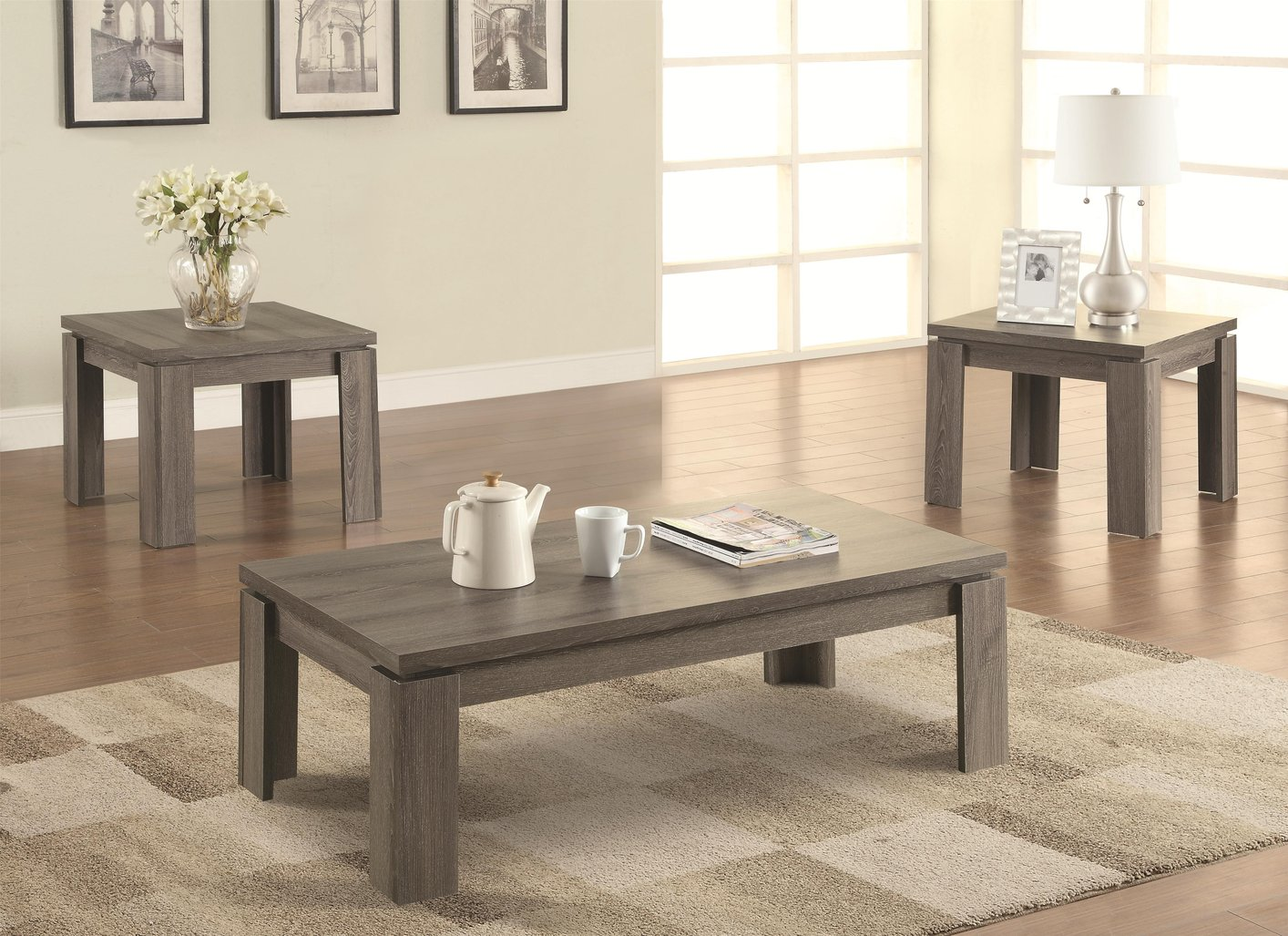 Coffee table sets gray wooden coffee table set SCTHWIE