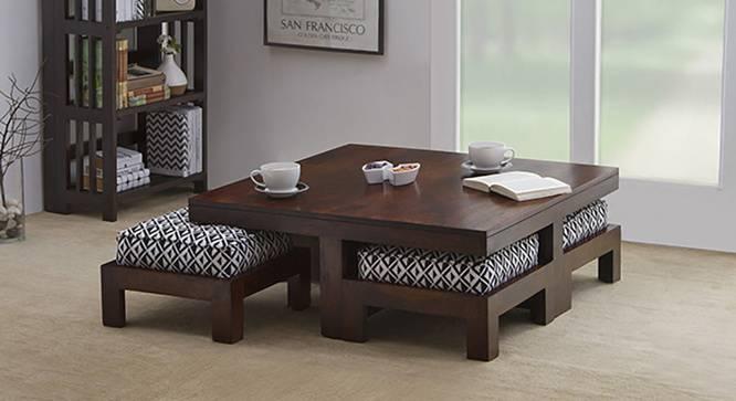 Coffee table sets ... kivaha 4-seater coffee table set (walnut finish, black & white) by ZOAXBLL