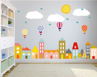 compact wall decals for kids city wall decals, nursery wall decals, wall LVCQDBU