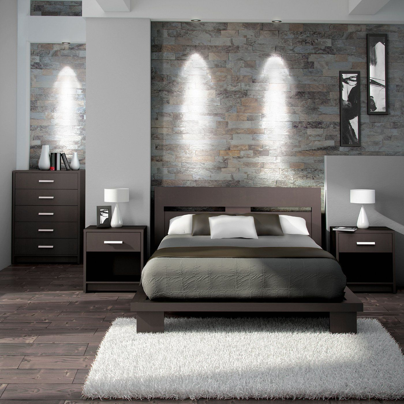 Modern bedroom furniture A simple and modern bedroom set in espresso brown.  itu0027s created with DVDJMPE