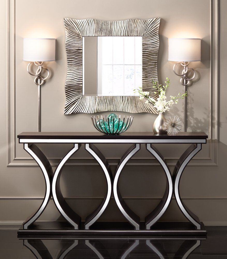 modern console table a rich chocolate brown finish underlines the distinctive design of this QSTJTBQ