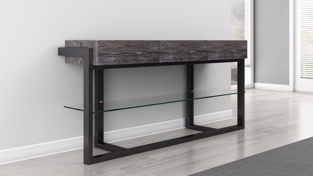 contemporary console table Console table in graphite finish Console table in graphite finish ... KWXRGEF