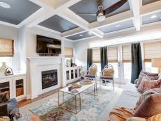 Modern coffered ceilings and mixed patterns in the living room are the stars of this textured contemporary DNYOCRW
