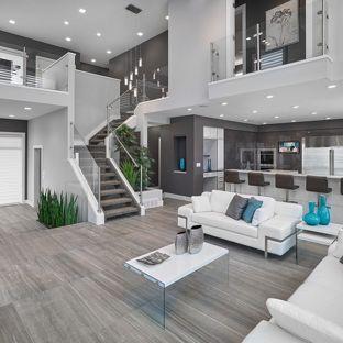 contemporary living room inspiration for a contemporary open concept gray floor living room remodel LPVLNGU