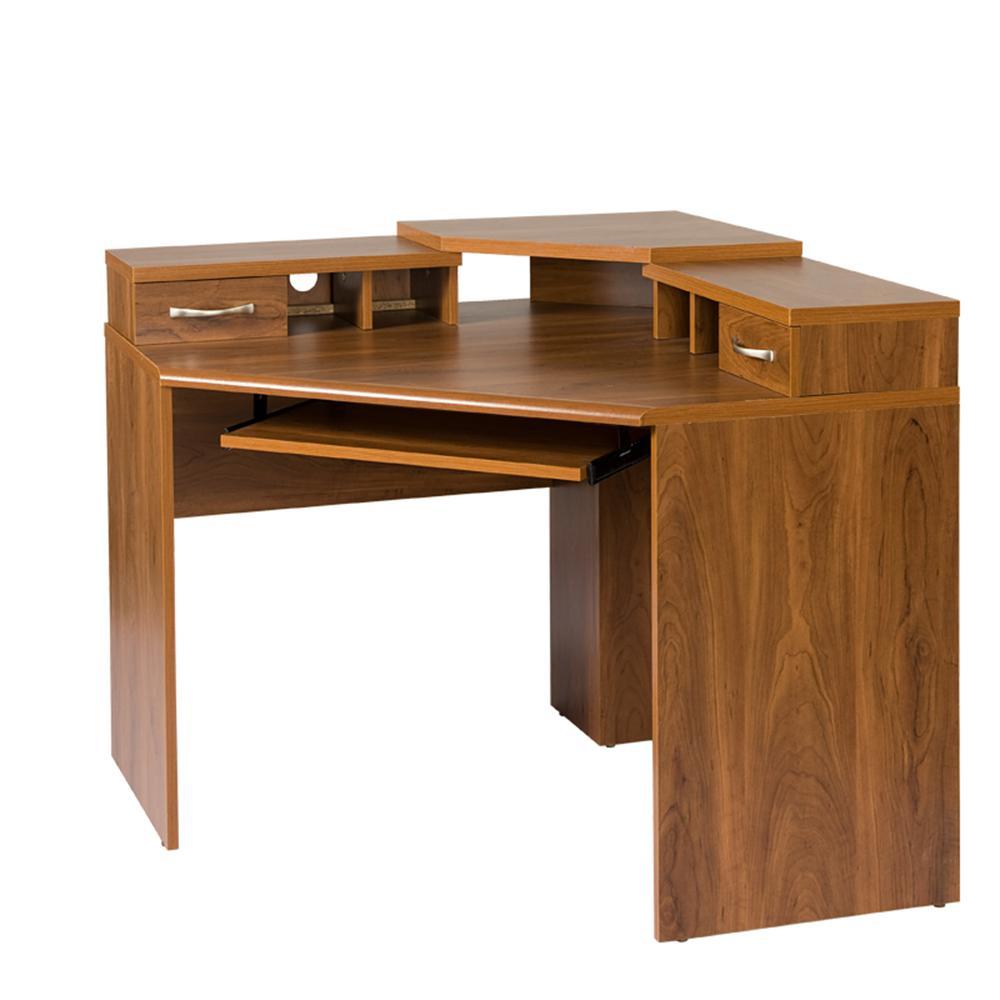 Corner desk with monitor platform, keyboard shelf and 2 MLSTLSW drawers