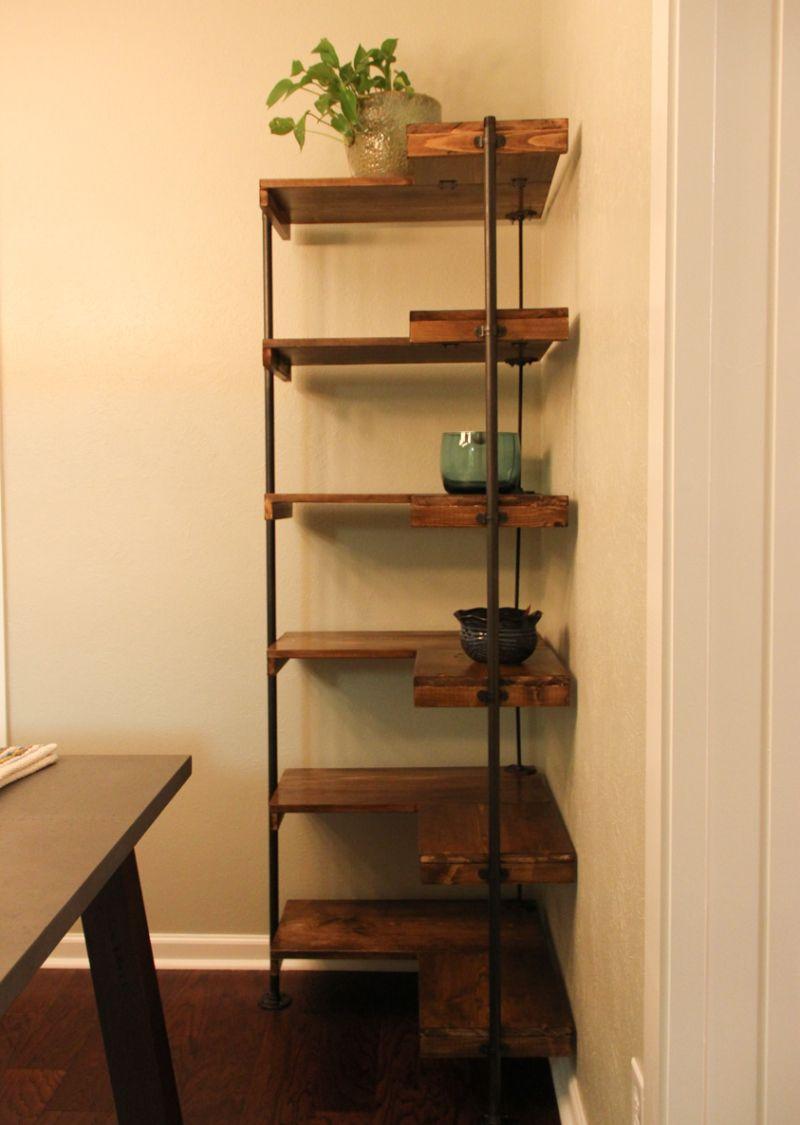 Corner shelf DIY rustic industrial freestanding corner shelves VMUHQXF
