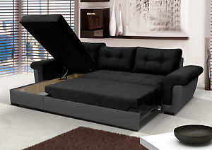 Corner sofa-bed Image is loading new-corner sofa-bed-with-storage-black-fabric- KNMGUVW