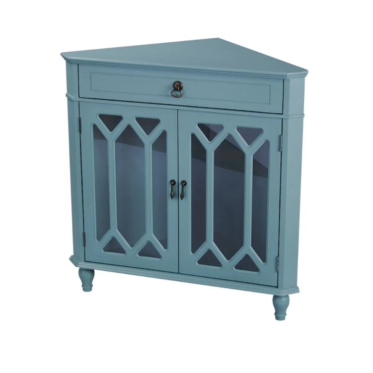 Corner table Heather ann glass insert double door, single drawer corner cabinet made of wood JZOLCIV