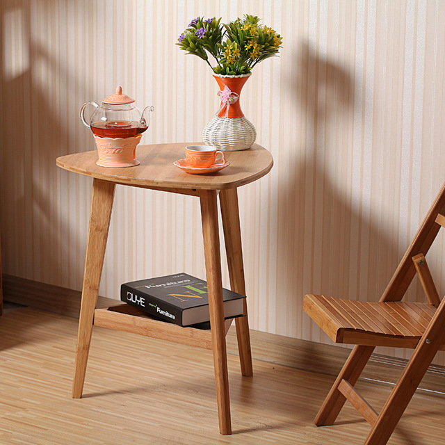 Corner table with bamboo flower wood, simple desk, computer table, small tea table IAWTWVG