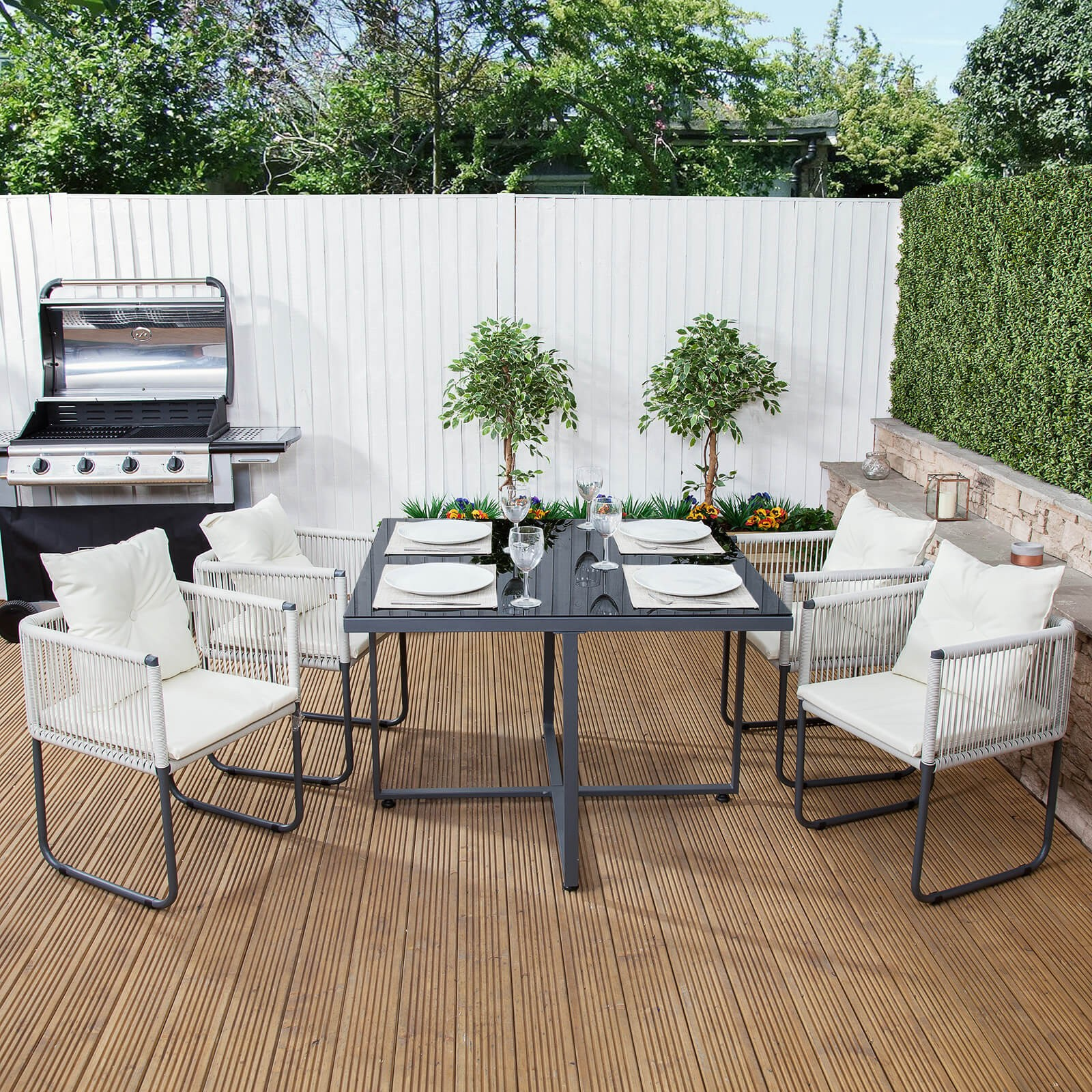 cosmopolitan square steel & poly-weave garden dining set GYOTPJY