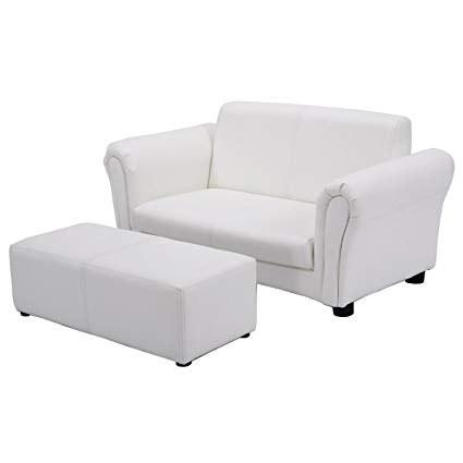 Costzon children's sofa set 2-seater armrests children's couch lounge with ottoman AKMXQNR