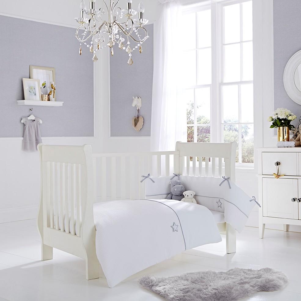 Crib Bedding Silver Lining Crib / Crib Duvet & Bumper Bedding Set QWJPCUQ