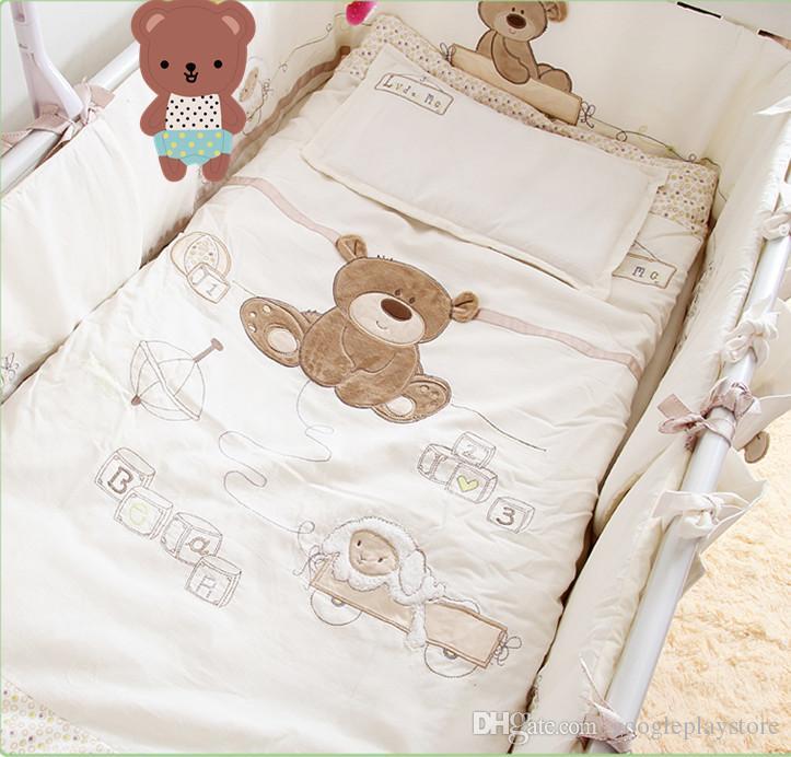 cotton baby crib bedding set newborn cartoon bear bedding removable GLIIFNI