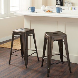 Counter stool Tabouret 24 inch vintage patina backless counter stool (set of 2) ADYLDRR