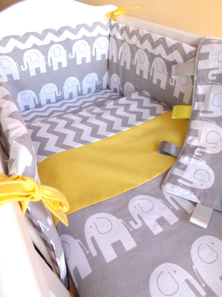 Cot or crib or cot bedding set, gray elephant zigzag 100% cotton SKGHRYR