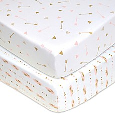 Fitted sheet tl care® 2-pack feathers / arrows jersey knit fitted sheet DKQFDTL