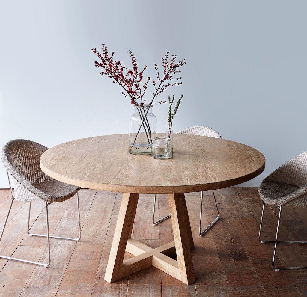 Sacral round dining table whitewashed teak 160 more WJIJJWP