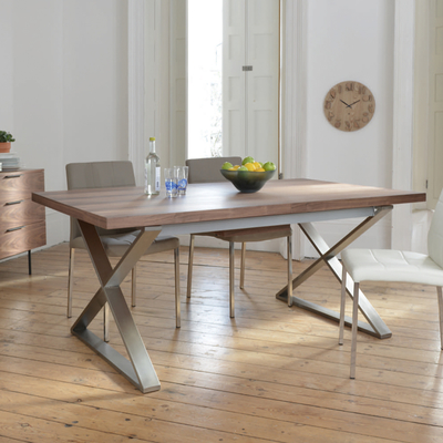 Dining table with crossed legs in walnut wood Leg in brushed steel VRZRDBV
