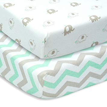 Cuddly babies set of 2 fitted sheets made of jersey cotton in gray IVYKDSY