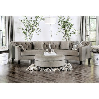 curved sofa Aretha modern gray tufted rounded sectional sofa by Furniture of America XIJZYYN