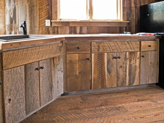 custom-made barn wood cabinets rustic kitchen HORZIYU