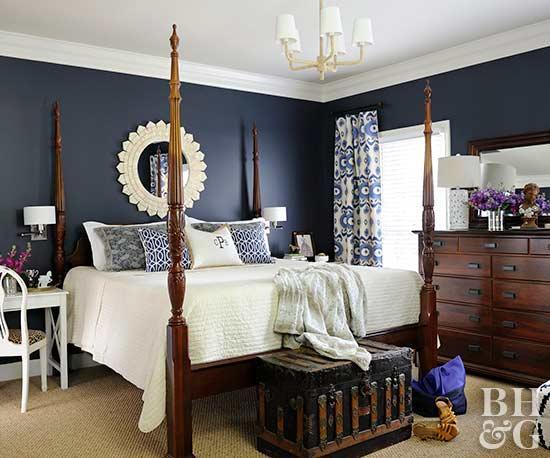 dark bedroom colors.  pinterest.  contrasting bedroom with navy blue walls GWNYCNM