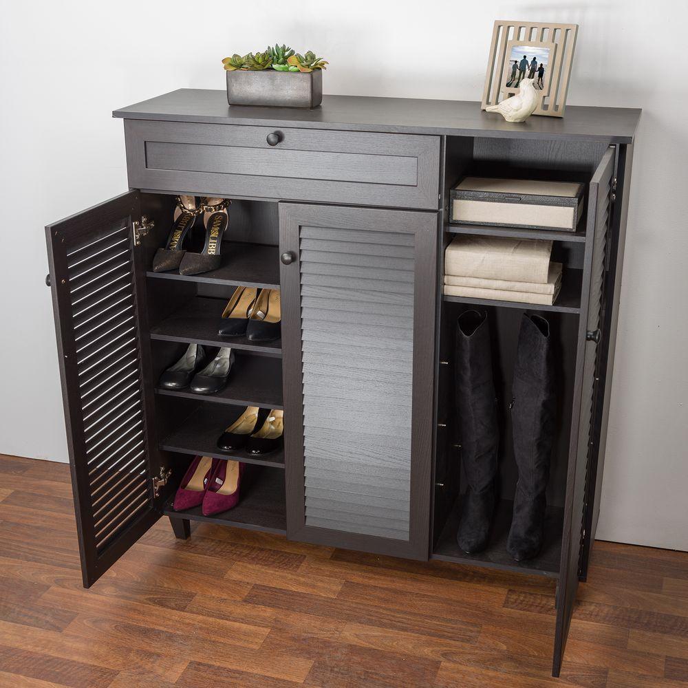 Dark brown wooden shoe cabinet JBKQYFE