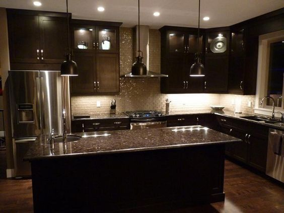 Espresso cabinets on Pinterest Kitchen cabinets and floors.