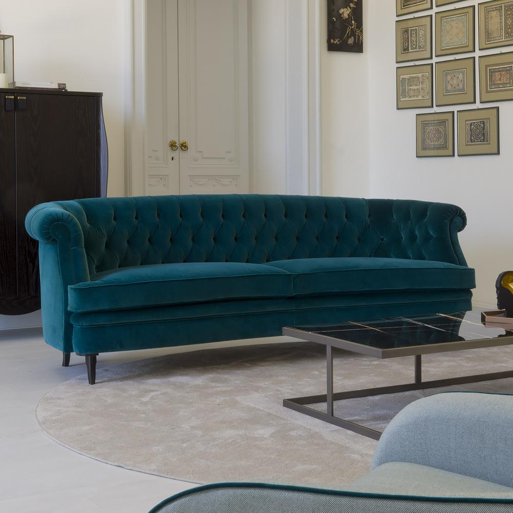 dark green velvet sofa blue-green sofa with nail head steal piping dark piping MTZJVOA