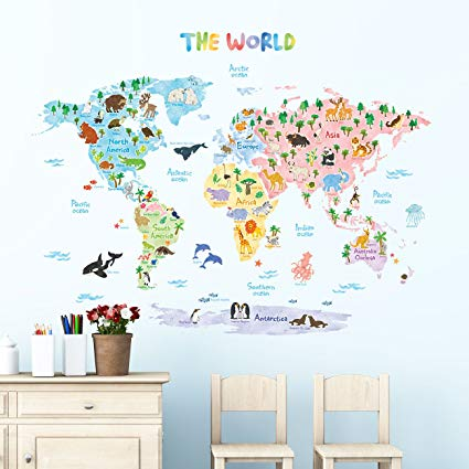 decowall dlt-1615 wildlife map kids wall decals wall stickers peel and BBMFYHU