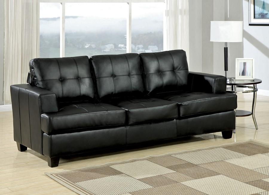 Leather sofa bed in diamond black MWXYTEU