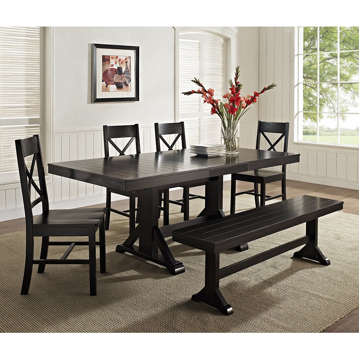 Dining room black dining table bench best gallery of tables furniture room GMCXUIG