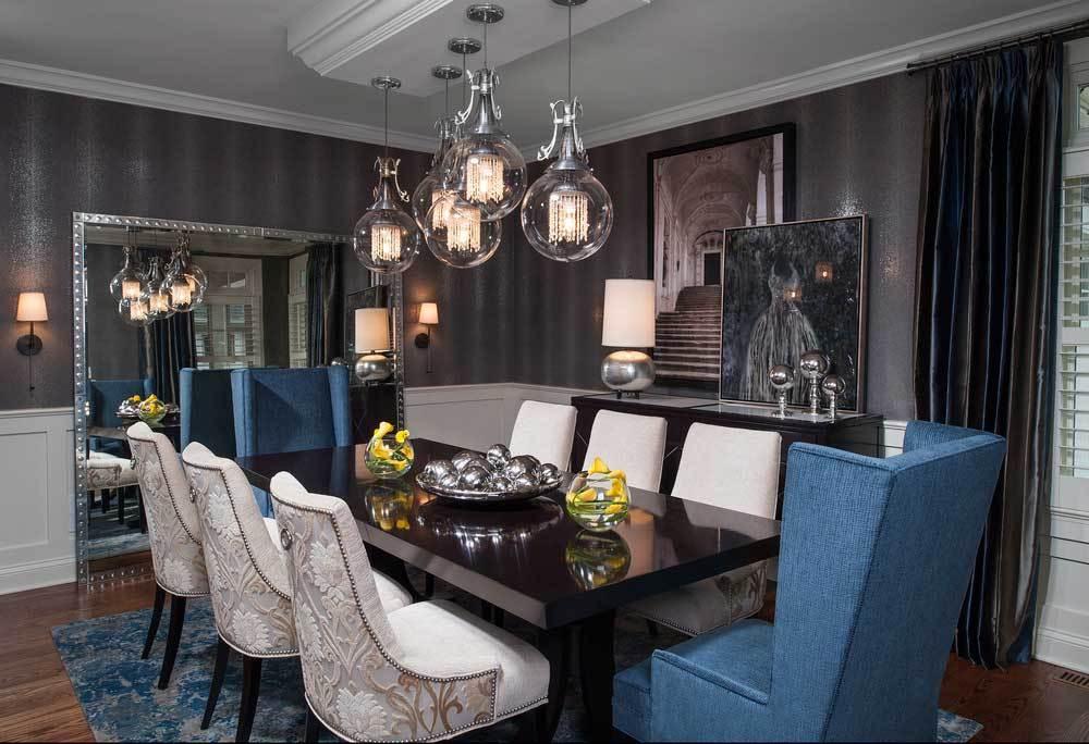 Dining room lighting modern dining room with clear glass ball pendant light.  Home KSJSUQN
